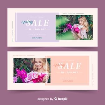 Banners de venda de primavera com foto