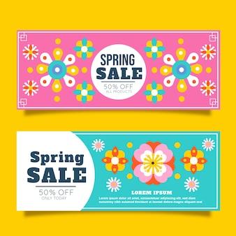 Banners de venda de primavera de design plano
