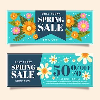 Banners de venda de primavera de estilo simples