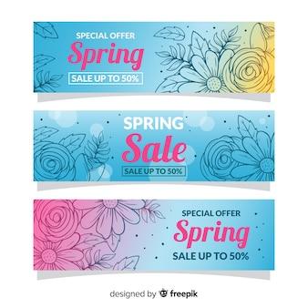 Banners de venda de primavera de mão desenhada