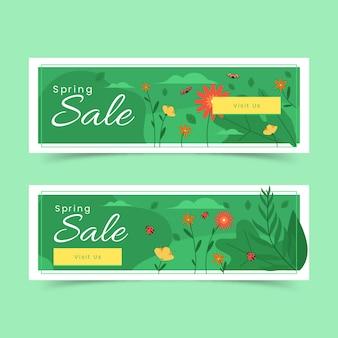 Banners de venda de primavera desgin plana