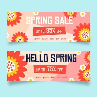 Banners de venda de primavera design plano abstrato flores