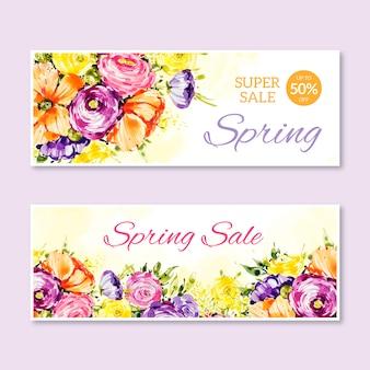 Banners de venda de primavera estilo aquarela