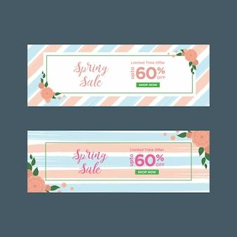 Banners de venda de primavera listrado azul e rosa com quadros