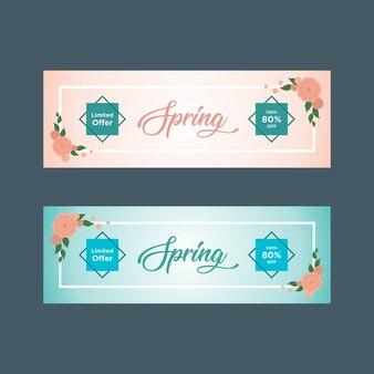 Banners de venda de primavera rosa e azul com quadros brancos