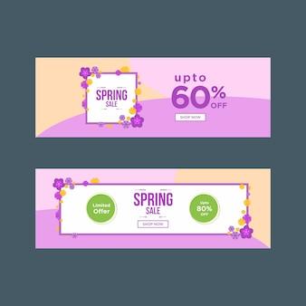 Banners de venda de primavera roxo suave com quadros florais