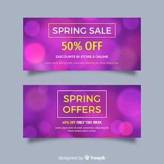 Banners de venda de primavera turva