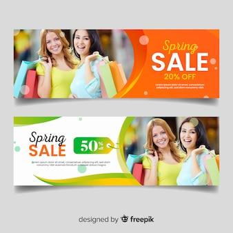 Banners de venda de primavera