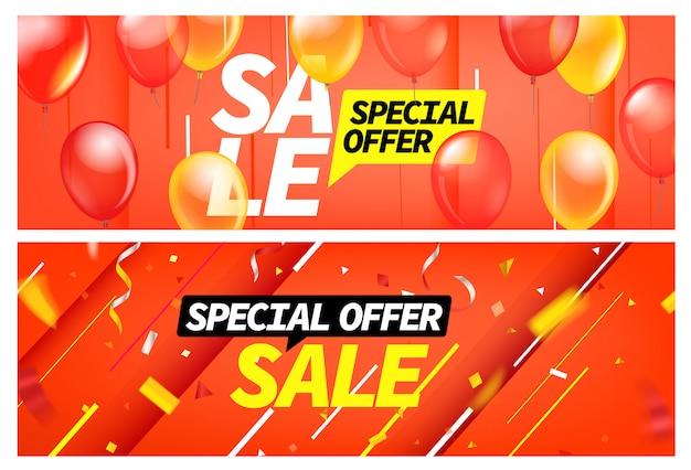 Banners de venda de temporada. conjunto de desconto para oferta especial