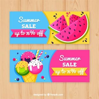 Banners de venda de verão com melancia e sorvete