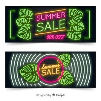 Banners de venda de verão luzes de néon