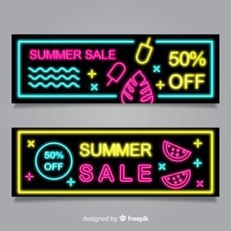 Banners de venda de verão néon