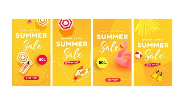 Banners de venda de verão para histórias de mídia social página da web de venda telefone celular compras online promocional estilo minimalista