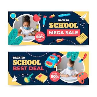 Banners de venda de volta às aulas com foto
