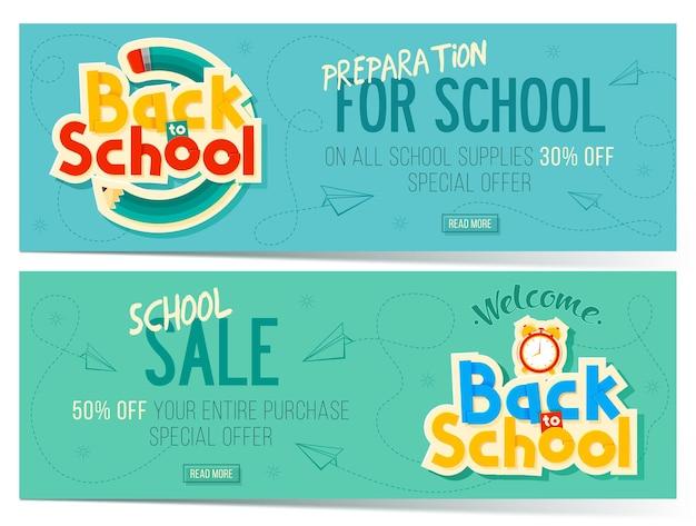 Banners de venda de volta às aulas