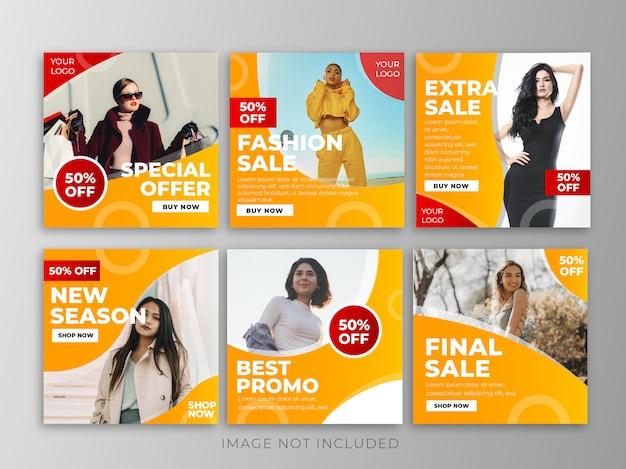 Banners de venda definido para o modelo de mídia social
