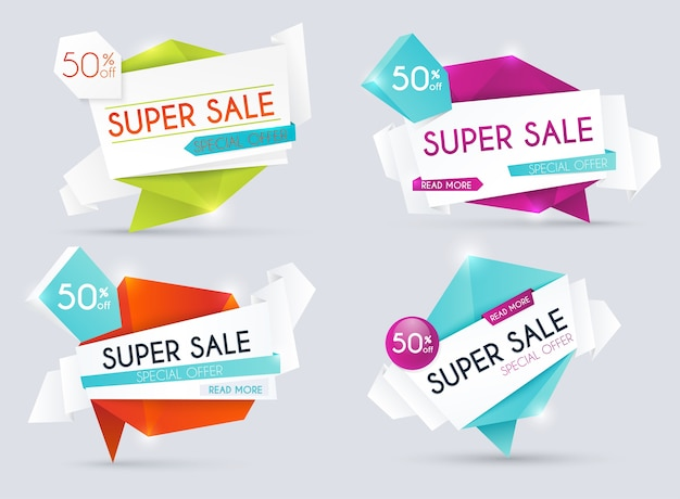 Banners de venda, descontos e ofertas especiais. fundo de compras, etiqueta para promoção de negócios. ilustração.
