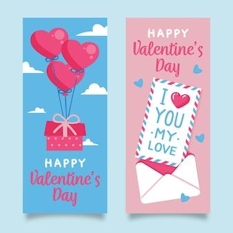 Banners de venda desenhados à mão de dia dos namorados