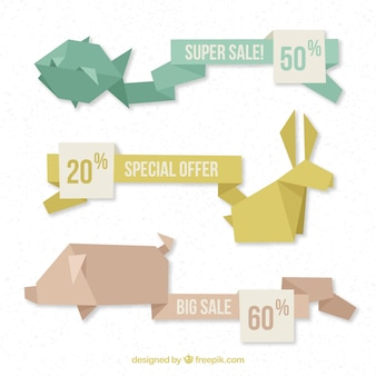 Banners de venda design de origami