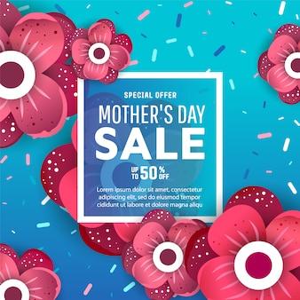 Banners de venda dia das mães com flores e rótulo de texto.