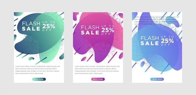 Banners de venda dinâmicos modernos fluidos móveis móveis