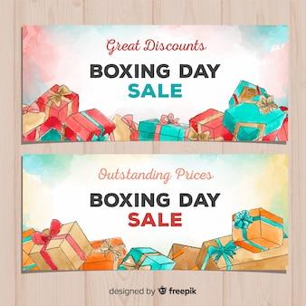 Banners de venda do dia de boxe em aquarela