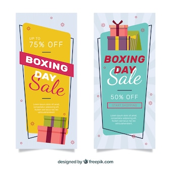 Banners de venda do dia do boxe