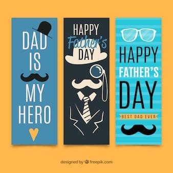 Banners de venda do dia do pai em estilo simples