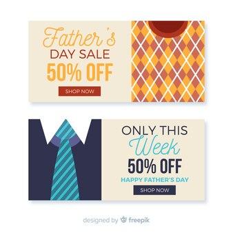 Banners de venda do dia do pai plana
