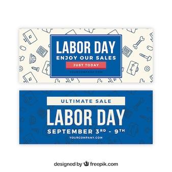 Banners de venda do dia do trabalho em estilo simples