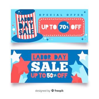 Banners de venda do dia do trabalho plana