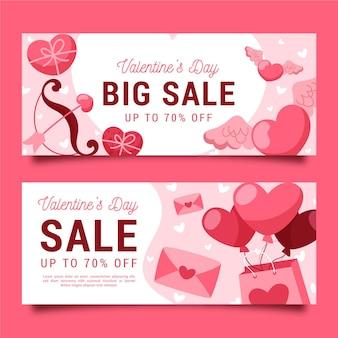 Banners de venda do dia dos namorados desenhados à mão