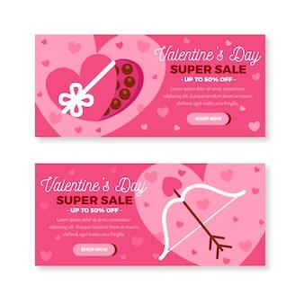 Banners de venda do dia dos namorados em design plano