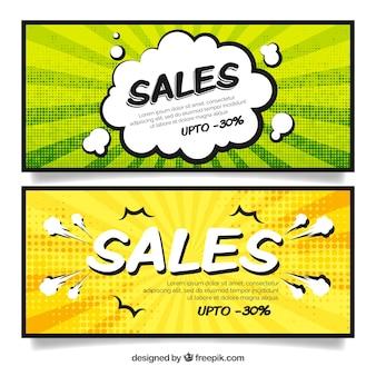 Banners de venda em estilo cômico