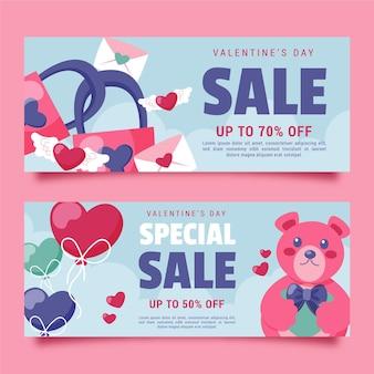 Banners de venda especial desenhados à mão para o dia dos namorados