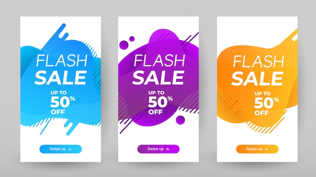 Banners de venda flash com cor líquida abstrata. design de modelo de banner de venda, oferta especial de venda em flash