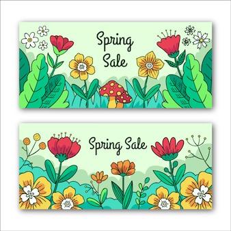 Banners de venda floral primavera