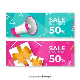 Banners de venda geométrica abstrata com elementos realistas