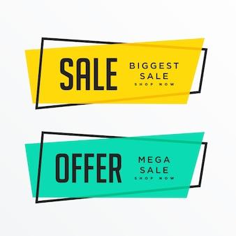 Banners de venda geométrica com espaço de texto