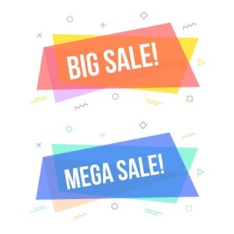 Banners de venda geométrica com texto