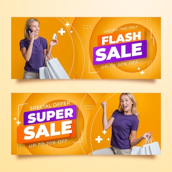 Banners de venda gradiente com foto