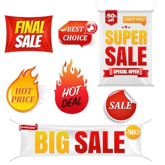 Banners de venda grande venda fundo