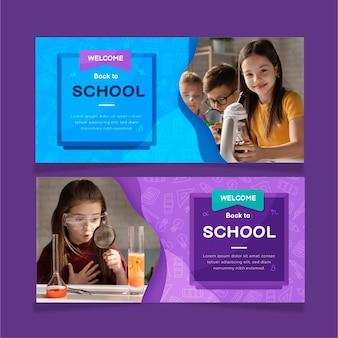 Banners de venda horizontais de volta às aulas com foto