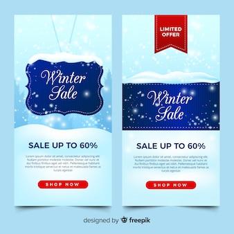 Banners de venda linda de inverno com design plano