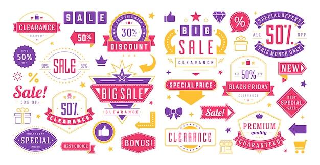 Banners de venda, modelos de ofertas especiais e conjunto de elementos de design de adesivos com desconto