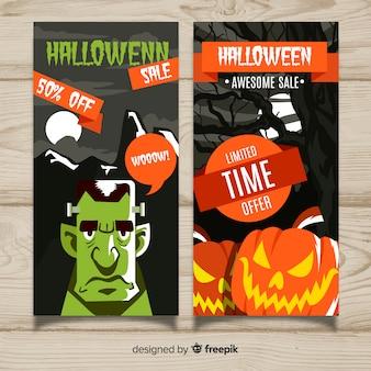 Banners de venda moderna de halloween com design liso