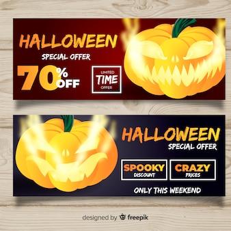 Banners de venda moderna de halloween com design realista