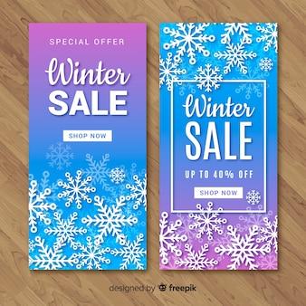 Banners de venda moderna de inverno
