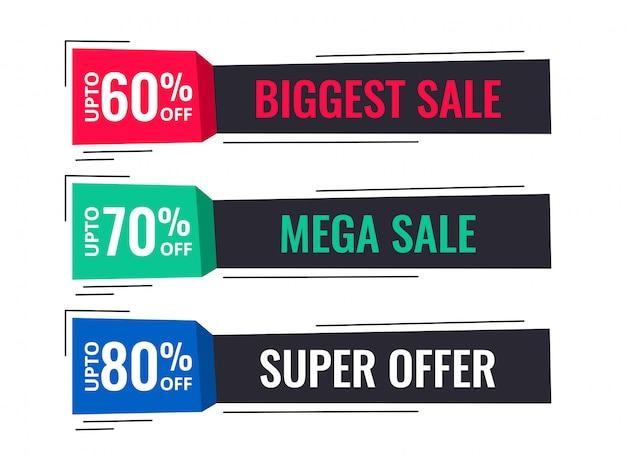 Banners de venda moderna em estilo memphis