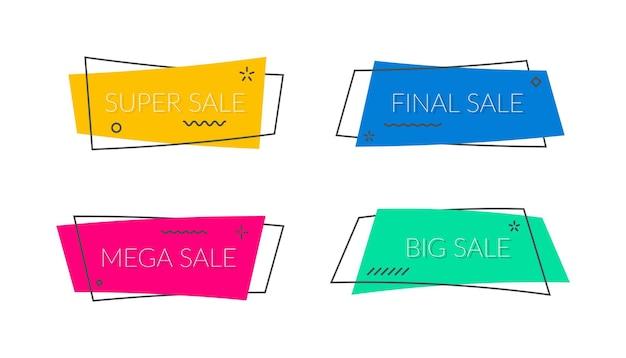 Banners de venda moldam fitas de promoção de vetor e etiquetas bolha de desconto em adesivos modernos